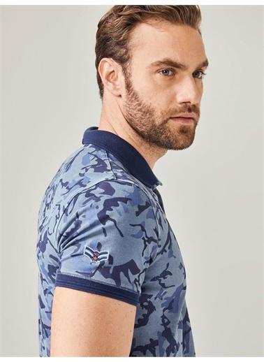 MCL MCL Polo Yaka Pamuklu Slim Fit Desenli Tişört Mavi
